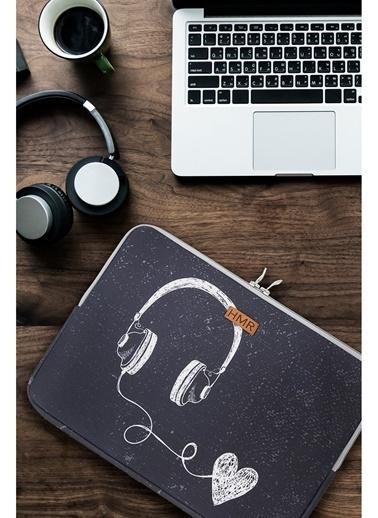Hamur Easy Case 13 inç Laptop Çantası Notebook Kılıfı Music New Gri